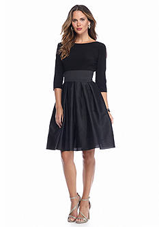 Adrianna Papell Cold-Shoulder Fit-and-Flare Party Dress
