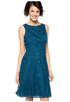 Adrianna Papell Sleeveless Allover Lace Fit and Flare Dress