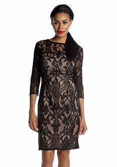 Adrianna Papell Three Quarter Sleeved Allover Lace Dress