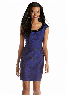 Adrianna Papell Cap-Sleeved Jacquard Sheath Dress