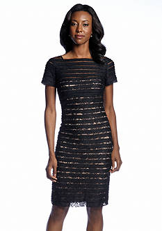 Adrianna Papell Short-Sleeve Allover Lace Sheath Dress