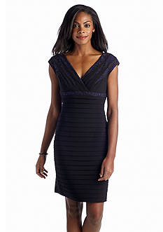 Adrianna Papell Cap-Sleeve Banded Sheath Dress