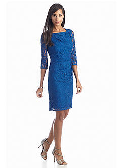 Adrianna Papell Allover Lace Sheath Dress