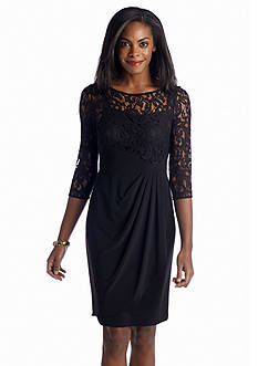 Adrianna Papell Three-Quarter Sleeve Faux Wrap Dress