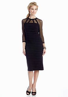 Adrianna Papell Shutter Pleat Mid Sheath Dress