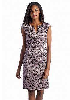 Adrianna Papell Floral Jacquard Sheath Dress