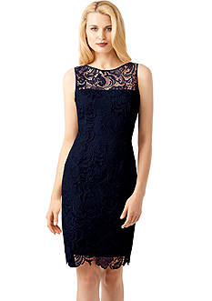 Adrianna Papell Sleeveless Allover Lace Sheath Dress