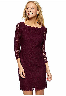 Long-Sleeved Allover Lace Sheath Dress