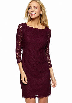 Adrianna Papell Long-Sleeved Allover Lace Sheath Dress