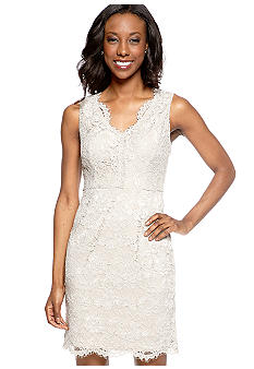 Adrianna Papell Sleeveless Allover Lace Cocktail Dress