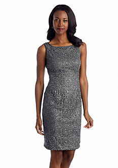 Adrianna Papell Metallic Lace Cocktail Dress with Sequin