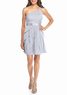 Adrianna Papell One Shoulder Draped Chiffon Dress