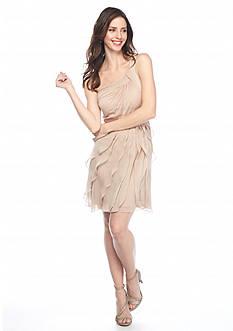 Adrianna Papell One Shoulder Draped Chiffon Dress