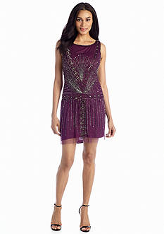 Adrianna Papell Bead and Mesh Overlay Cocktail Dress