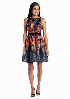 Adrianna Papell Floral Printed Fit-and-Flare Cocktail Dress