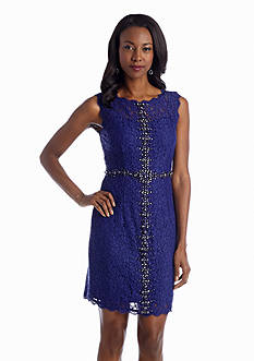Adrianna Papell Allover Lace Sheath Dress with Bead Embellishment