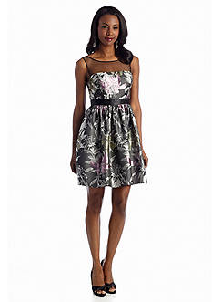 Adrianna Papell Floral Jacquard Fit and Flare Cocktail Dress