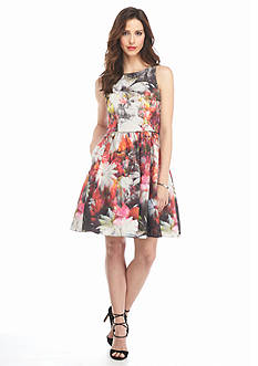 Adrianna Papell Floral Printed Fit and Flare Dress