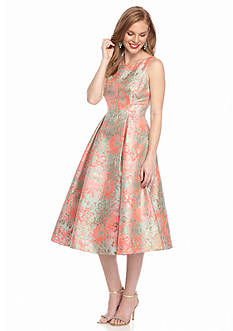 Adrianna Papell Floral Printed Jacquard Fit and Flare Dress
