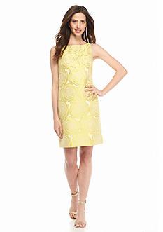 Adrianna Papell Bead Embellished Jacquard Sheath Dress