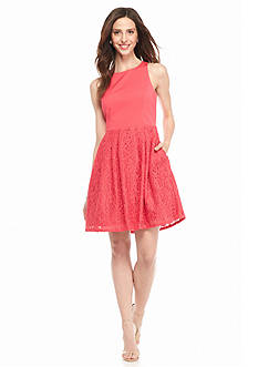 Adrianna Papell Cutout Back Fit and Flare Party Dress