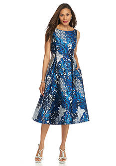 Adrianna Papell Printed Shantung Fit and Flare Dress