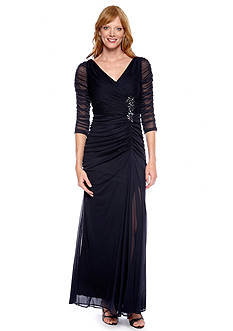 Adrianna Papell Double V-Neck Gown
