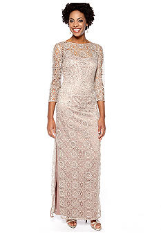 Adrianna Papell Long-Sleeved Allover Lace and Sequin Gown