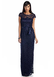 Adrianna Papell Cap-Sleeved Allover Lace Gown