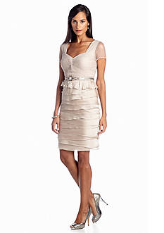 Adrianna Papell Tiered Cocktail Dress with Bead Embellishment