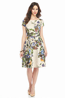 Adrianna Papell Bead Embellished Floral Printed Fit and Flare Dress