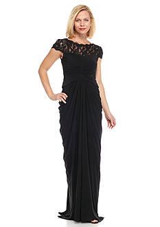 Adrianna Papell Illusion Neckline Gown