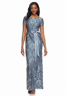 Adrianna Papell Column Lace Gown