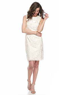 Adrianna Papell Floral Embroidered Organza Blouson Dress