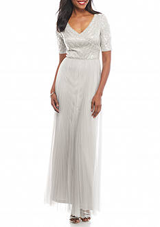Adrianna Papell Pleated Gown with Sequin