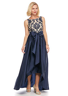 Adrianna Papell Embroidered Lace and Taffeta High Low Gown