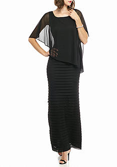 Adrianna Papell Sheer Capelet Overlay Gown