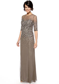 Adrianna Papell Elbow-Sleeved Bead and Sequin Gown