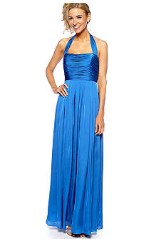 Adrianna Papell Halter Gown with Ruched Bodice