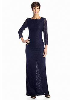 Adrianna Papell Allover Lace Gown