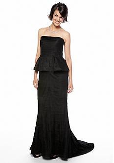 Adrianna Papell Strapless Laser-Cut Peplum Gown