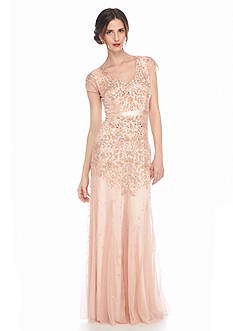 Adrianna Papell Bead and Sequin Mesh Gown