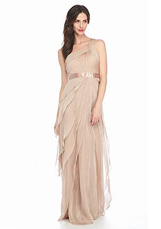 Adrianna Papell Draped One Shoulder Gown