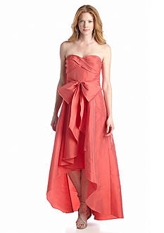 Adrianna Papell Strapless Taffeta High Low Gown with Sash
