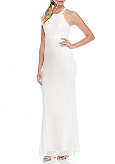 Adrianna Papell Allover Mesh and Sequin Halter Gown with Mesh Illusion Open Back