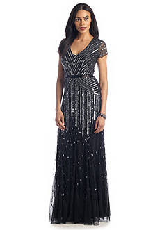 Adrianna Papell Cap-Sleeve Bead and Sequin Gown