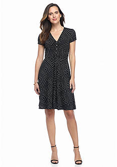 Adrianna Papell Polka Dot A-Line Dress