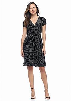Adrianna Papell Polka Dot A-Line Dress