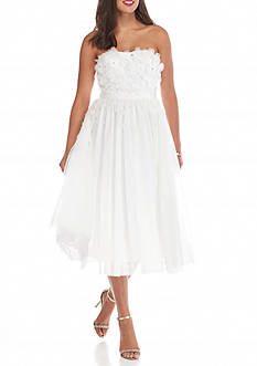 Adrianna Papell Strapless Bead Embellished Tulle Petal Dress
