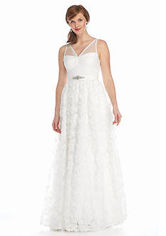 Adrianna Papell Bead Embellished Tule Chiffon Petal Gown